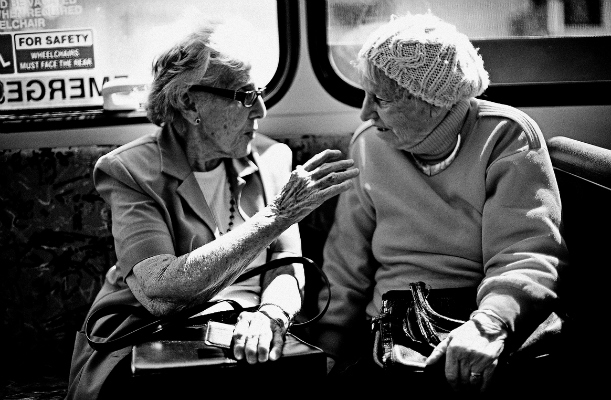 Elderly ladies chatting